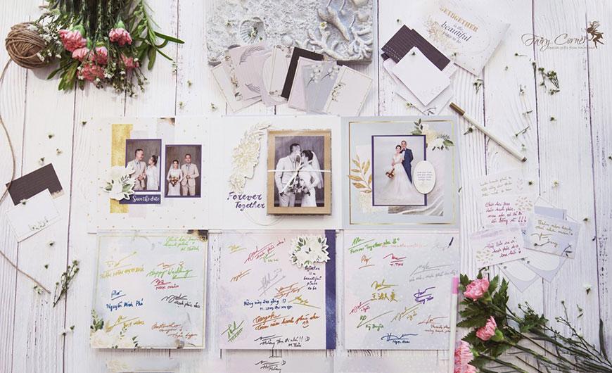 cách trang trí bàn gallery đám cưới handmade