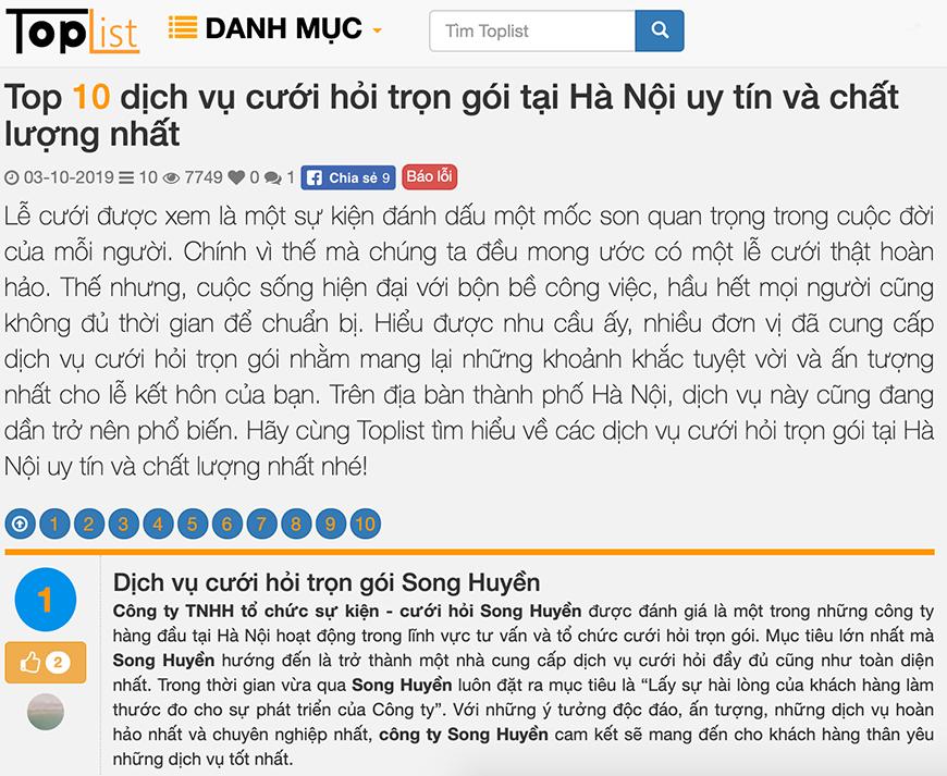 Song Huyền là 1 trong TOP 10 công ty dịch vụ cưới hỏi trọn gói tại Hà Nội và các tỉnh miền Bắc